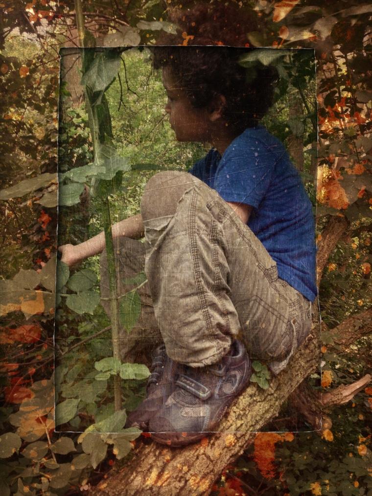 boy in tree grunge style