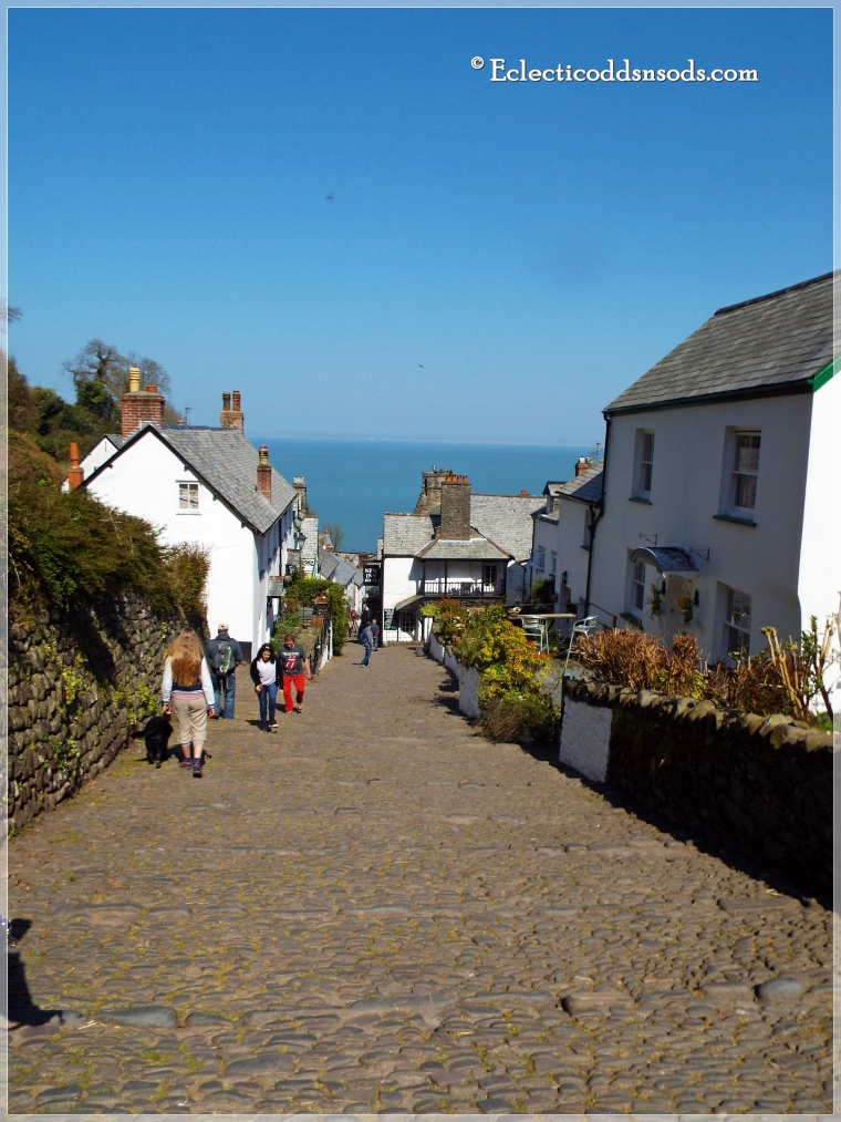 The view between the old cobblestone walls of Clovelly Village to the Harbour is stunning