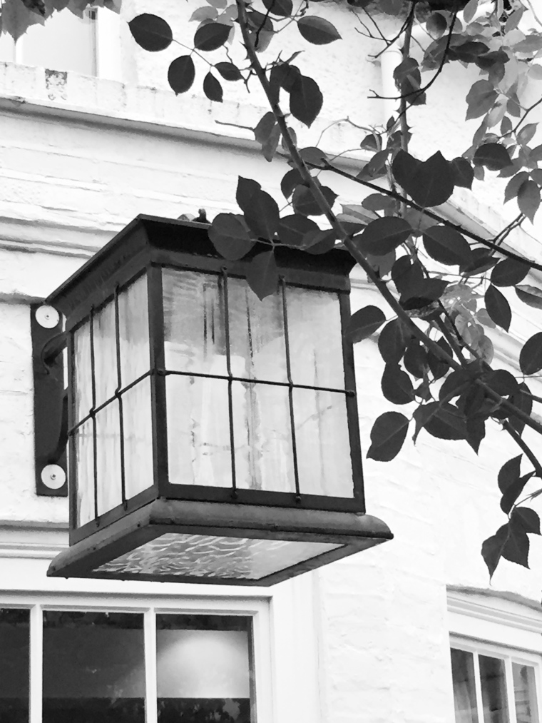 black and white photo of lantern