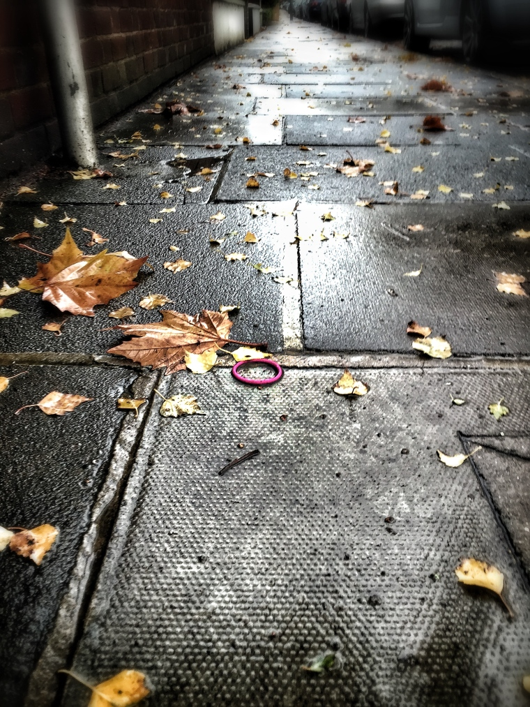 pink band on the pavement