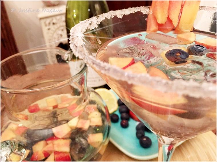 Peach & blueberry sangria cocktail