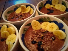 Chocolate, orange, nuts & banana, sweet oat porridge
