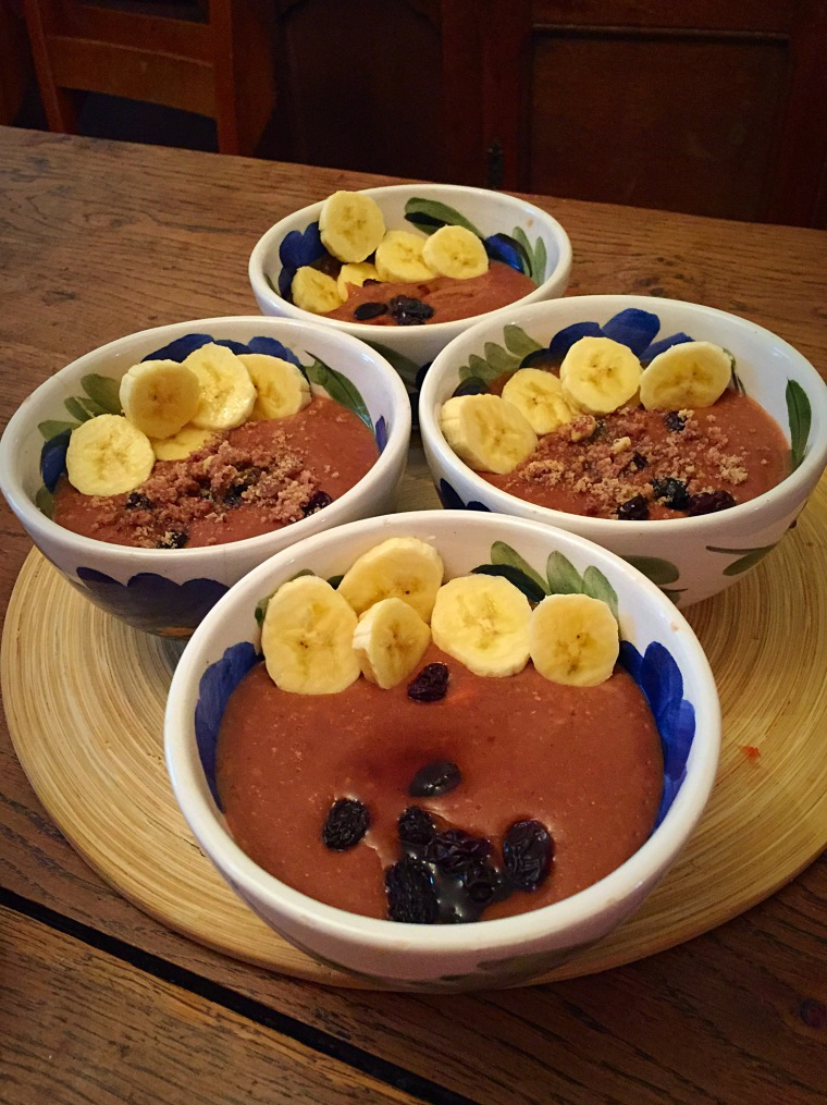 Chocolate, orange, nuts & banana, sweet oat porridge