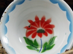 Vintage Enamel Hand Painted Set of 4 Bowls