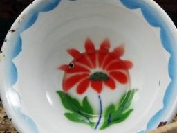 Vintage Enamel Hand Painted Set of 4 Bowls