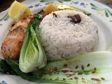 Teriyaki Ginger Salmon, Seeded Pak Choi, Persimmon & Avacado Salad with Date Rice